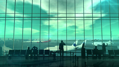 Business traveler at the airport Animation