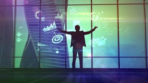 The businessman triumphantly raised his hands up looking at the infographics Animation