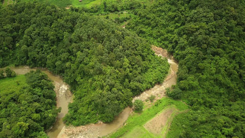 Aerial view of the Lush Green Rain Forest Mountain Footage