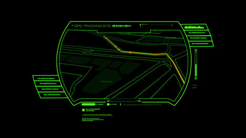 Green HUD GPS Hologram Interface Graphic Element Animation