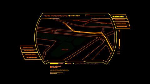 Orange HUD GPS Hologram Interface Graphic Element Animation