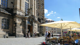 Dresden, Germany. Entrance to The Frauenkirche and... Stock Video Footage