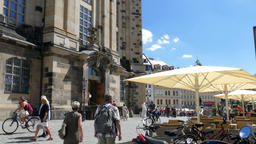 Dresden, Germany. Entrance to The Frauenkirche and strolling tourists Live Action
