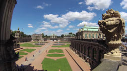 Zwinger palace - famous historic building in Dresden, Germany. Rotary timelapse Live Action