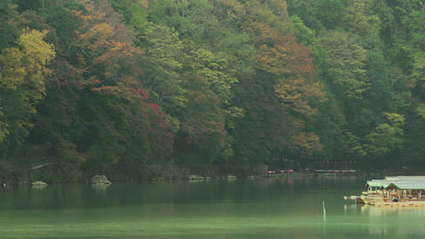 4K Autumn leaves and quiet calm river Footage