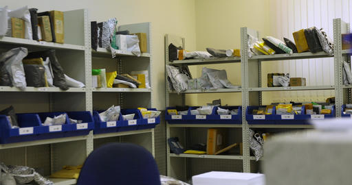 Shelves with parcels in the post office Footage