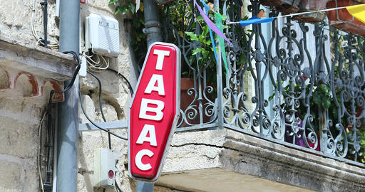 French Red And White Sign Tabac In France GIF