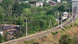 Church in small city in Urals on background of railway and river Footage