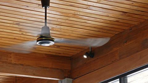 4k Tilt up shot, vintage ceiling fan in wooden building Stylish Loft Footage