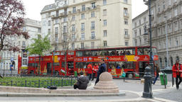 Double decker buses for tourist on the street of Budapest Live Action