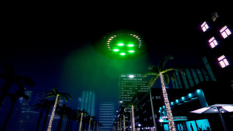 UFO is flying over the night city GIF