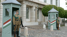 Hungarian guards at Southeastern facade of the presidential palace, Budapest Live Action