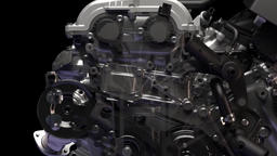 Animation of working car engine Footage