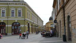 Eger, Hungary, the old town streets. Daily life scene Footage