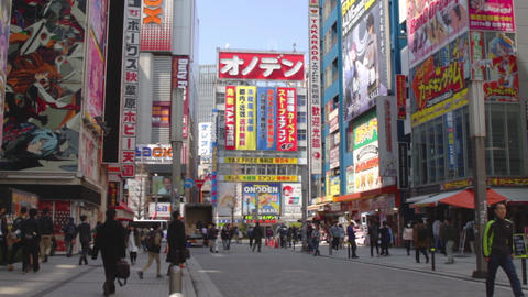 Street towerd ONODEN tower at Akihabara ビデオ