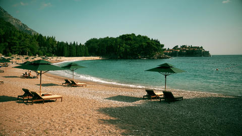 Beach and famous island Sveti Stefan in Montenegro 영상물