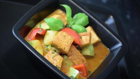 Tofu curry food cuisine meal dish Footage