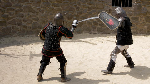 Presentation of the battle of knights with swords and shields Live Action