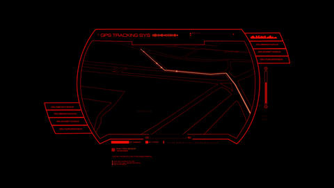 Red HUD GPS Hologram Interface Graphic Element Animation