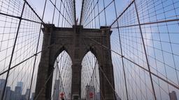 POV Walking Over Brooklyn Bridge Footage