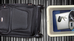 Passenger Items In Airport X-Ray Bins stock footage