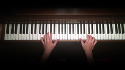 Fur Elise Played On A Piano Overhead Shot stock footage