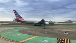 American Airlines Jet Taxis To Runway stock footage