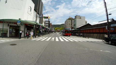 Driver POV through the Gion district and Yasaka Shrine in Kyoto Footage