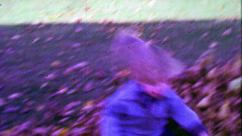1967: Blue eyed kid with bowl haircut playing in autumn fallen leaves Footage