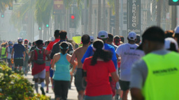 Racers Participate in the LA Marathon on Rodeo Drive Footage