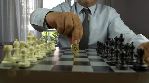 wonderful chess figures and business strategy concept Footage
