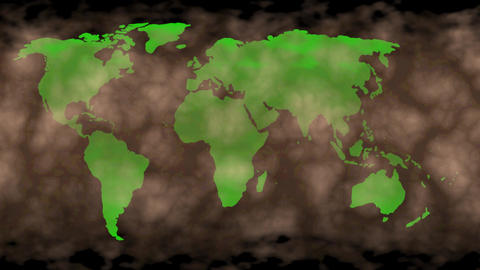 Dust storm covering Earth, world map. 3d animation Animation