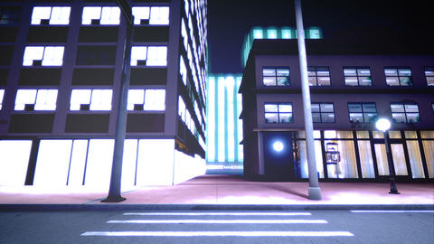 Beautiful scene of night city. Loopable Animation
