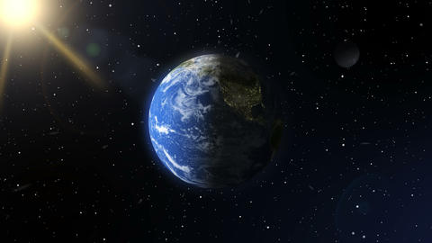 A view of the earth from outer space. A realistic planet. Elements of this image Animation
