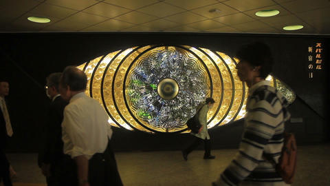 Eye sculpture full shot at Shinjuku station road ビデオ