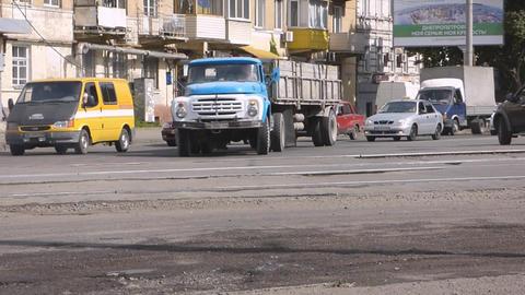 Crossroads city street road truck Footage