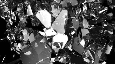 Glass shattered and broken in slow motion. Alpha matte.... Stock Video Footage