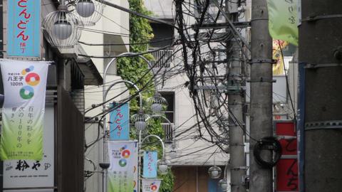 Chaotic Electric line long shot deep focus at Hachiouji ビデオ