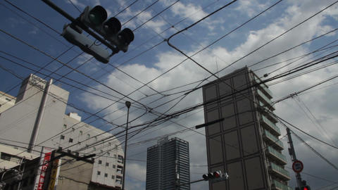 Electric line crossing wide shot deep focus at Hachiouji ライブ動画
