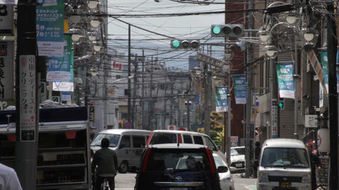 Electric line long shot deep focus at Misakicho street in Hachiouji ビデオ