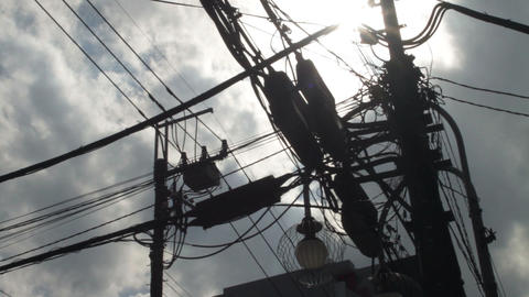 Pole trance with Electric line at Misakicho street in Hachiouji ビデオ