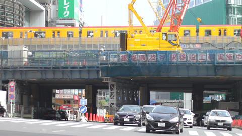 Cars come and go at Miyamazuzaka street in Shibuya middle shot ビデオ