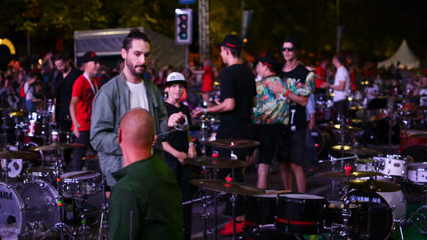 Riga, August 19: drummers finished their performance at National Baltic Drummer Footage