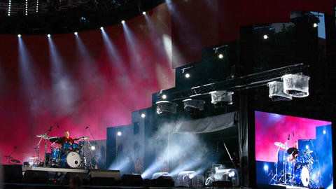 Riga, August 19: drummer performing live at big stage at Baltic Drummer Summit a Footage