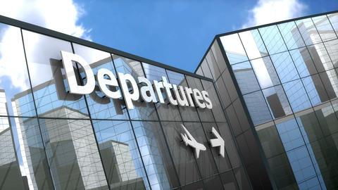 Airport Departures building blue sky timelapse Animation