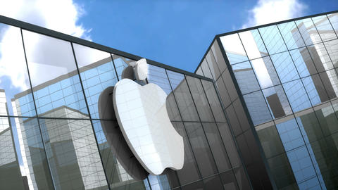 Editorial, Apple Inc. logo on glass building Animation