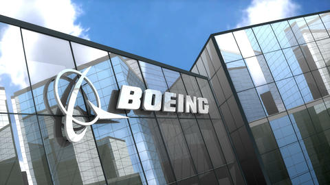Editorial, Boeing logo on glass building Animation