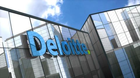 Editorial, Deloitte Touche Tohmatsu Limited logo on glass building Animation