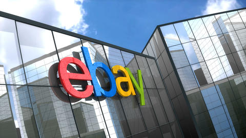 Editorial, Ebay logo on glass building Animation