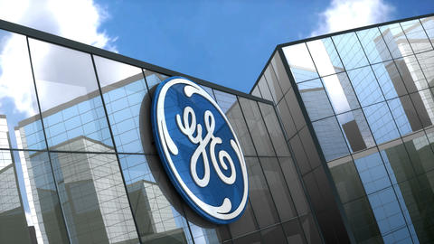 Editorial General Electric logo on glass building Animation